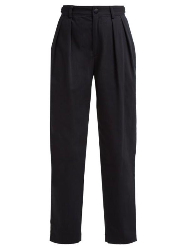 Koché Koché - Lace Side Stripe Cotton Blend Trousers - Womens - Black