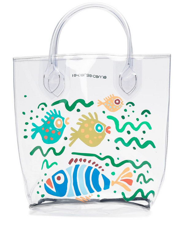 10 CORSO COMO large fish-print transparent tote bag in white