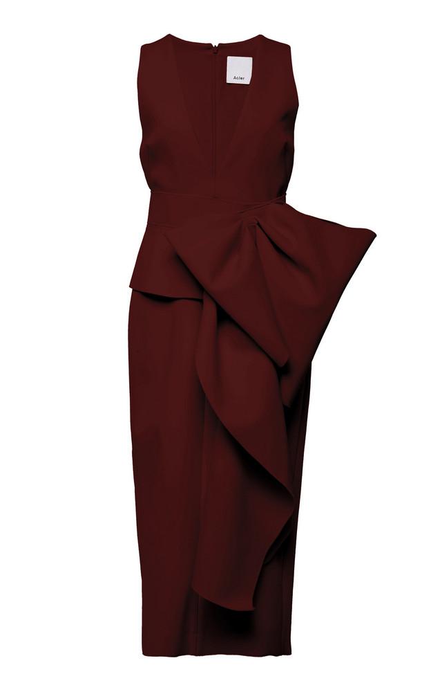 Acler Mancroft V-Neck Folded Stretch-Crepe Dress Size: 2 in burgundy