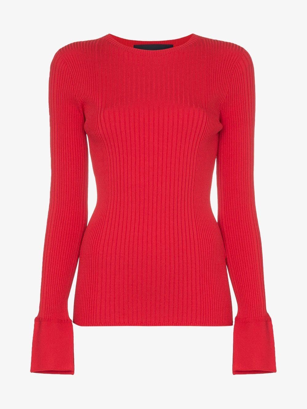 Juun.J ribbed-knit jumper in red
