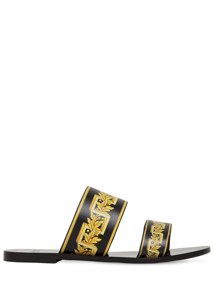 VERSACE 10mm Printed Leather Sandals in black / gold