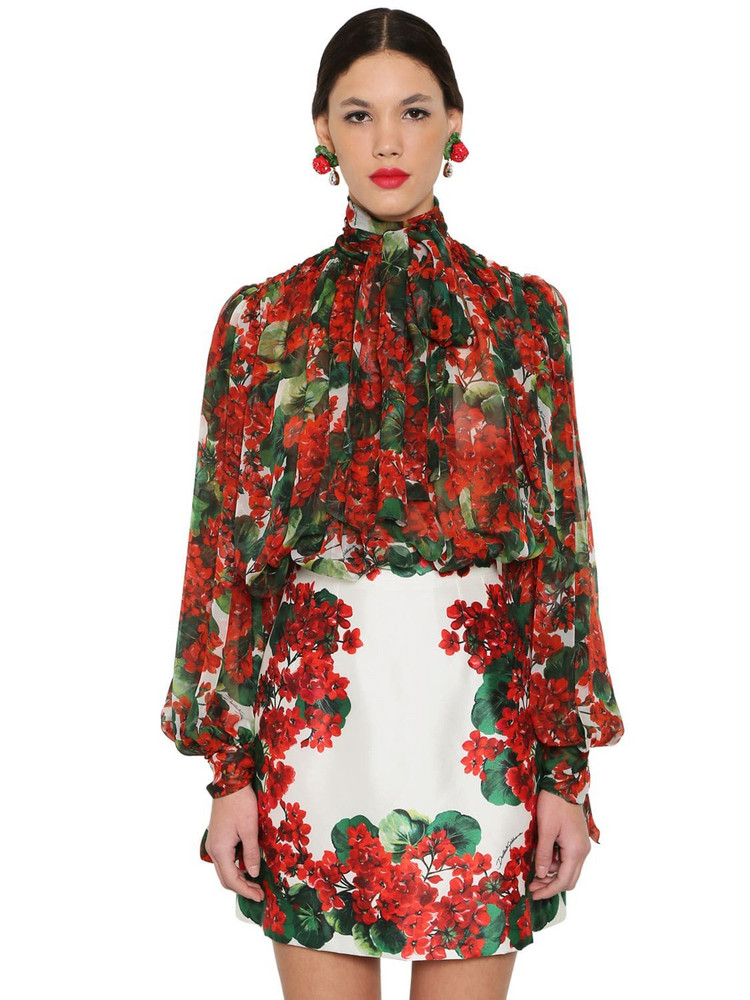 DOLCE & GABBANA Draped Floral Print Silk Chiffon Blouse in red / multi