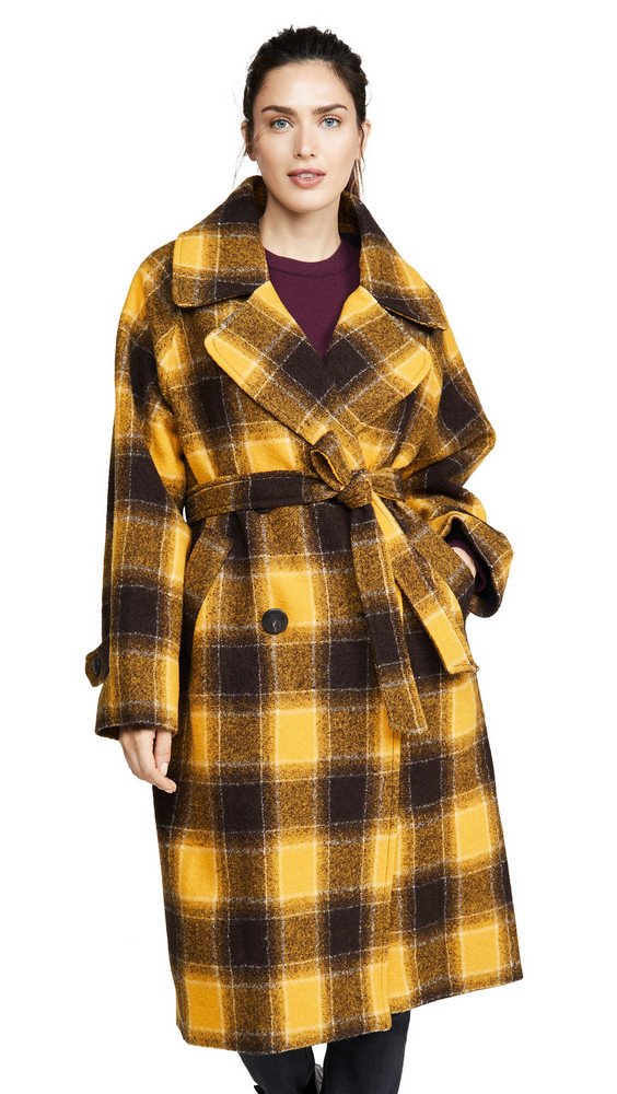 Sea Amber Belted Coat in yellow