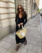 dress,black dress,long sleeve dress,pleated dress,black sandals,loewe bag