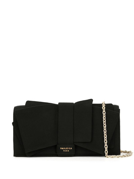 Paule Ka big bow deco clutch bag in black