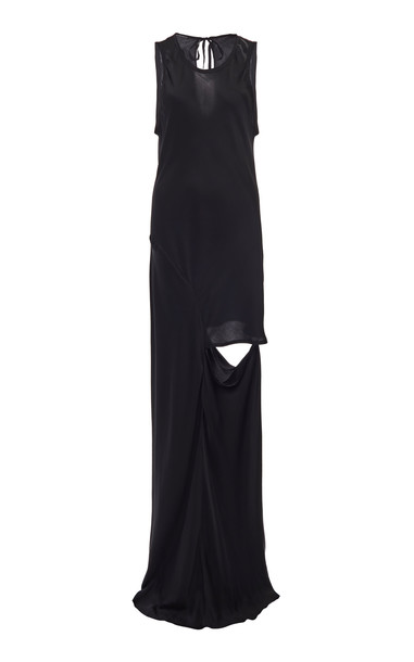 Ann Demeulemeester Crepe De Chine Maxi Dress Size: 36 in navy