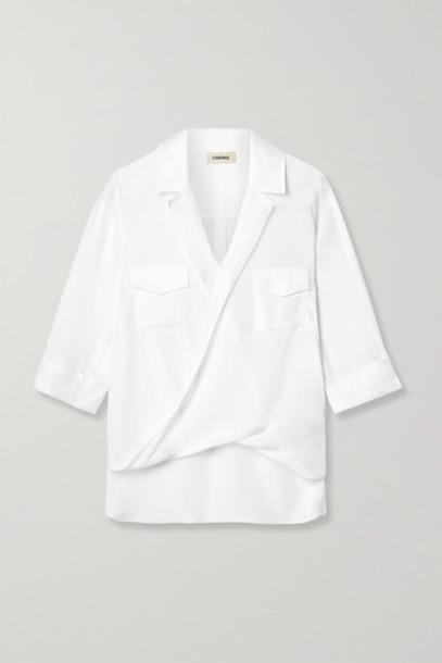 L'Agence - Phoenix Wrap-effect Silk-chiffon Blouse - White