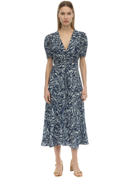 SALONI Lea Silk Crepe De Chine Midi Dress in navy