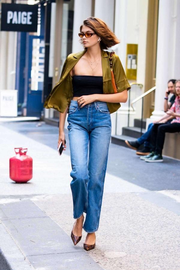 top khaki shirt jeans denim kaia gerber model off-duty streetstyle