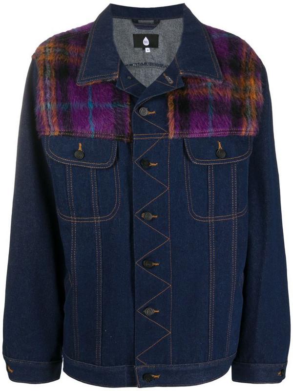 Natasha Zinko check plaid denim jacket in blue