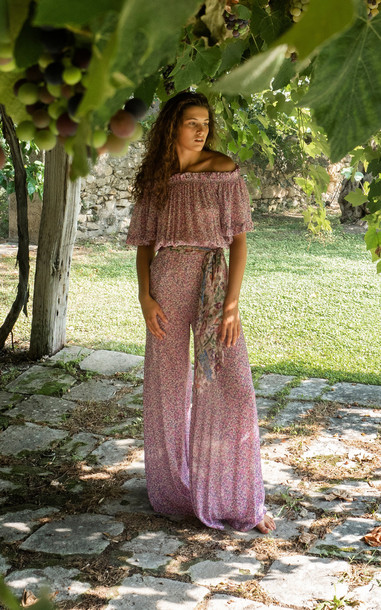 Luisa Beccaria Floral-Printed Georgette Jumpsuit in multi
