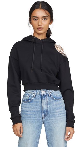 Area French Terry Hoodie with Crystal Doily Shoulder Inset in black