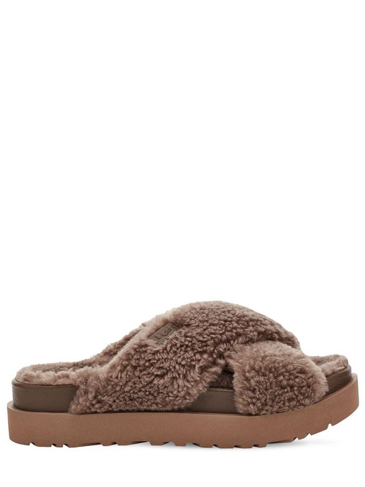 UGG 20mm Fuzz Sugar Cross Slide Sandals in brown