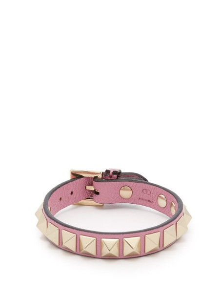 Valentino - Rockstud Leather Bracelet - Womens - Pink