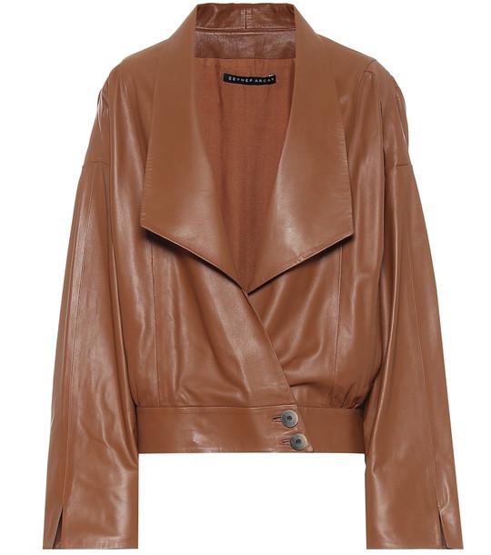 Zeynep Arçay Leather jacket in brown