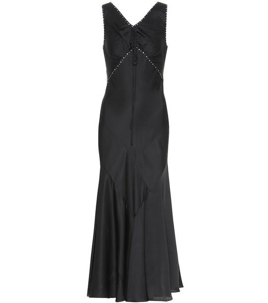 AlexaChung Embellished satin maxi dress in black