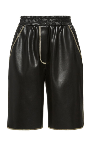 Nanushka Yolie Leather Stitch Bermuda Short Size: S in black