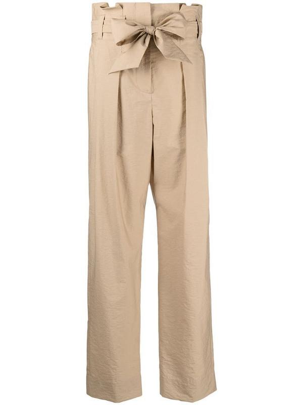 Brunello Cucinelli tie waist straight trousers in neutrals
