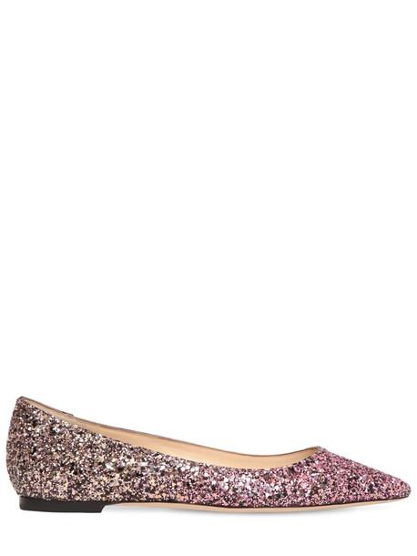 JIMMY CHOO 10mm Romy Dégradé Glitter Leather Flats in sand / pink