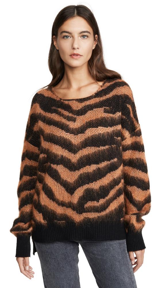 NUDE Round Neck Sweater in black / orange