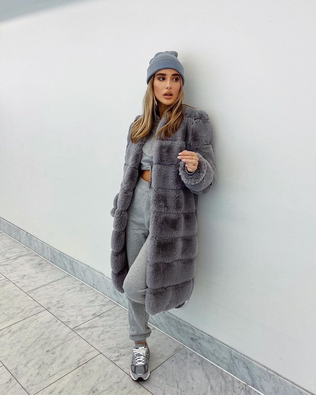 coat grey coat joggers sneakers cropped sweater beanie