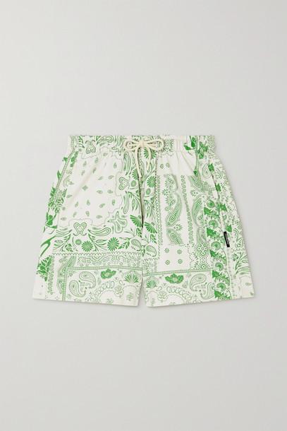 HOLZWEILER - Musan Printed Organic Cotton-blend Jersey Shorts - Green