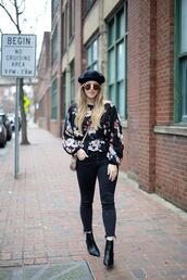 blonde bedhead,blogger,top,shoes,jeans,sunglasses,coat,bag