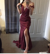 dress,burgundy,prom,prom dress,red