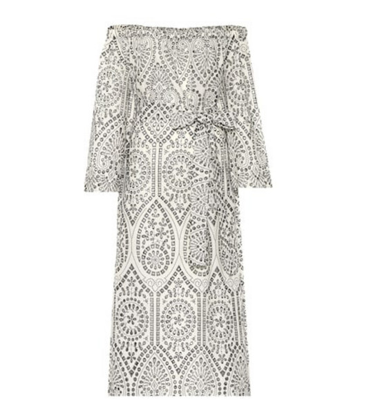 Lisa Marie Fernandez Embroidered cotton midi dress in black