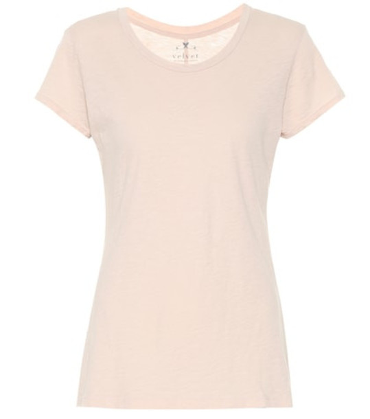 Velvet Cotton T-shirt in beige / beige