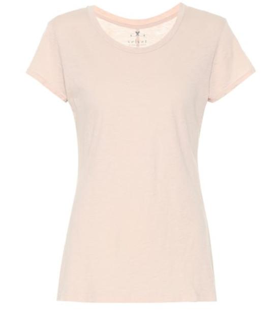 Velvet Cotton T-shirt in beige