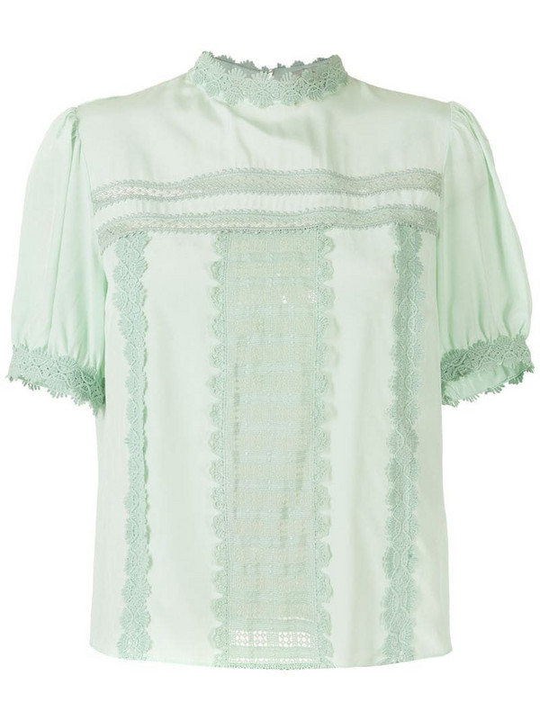 Martha Medeiros Giovanna silk blouse with lace in green