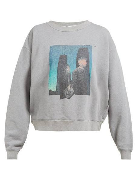 Off-white - Couple Print Cotton Sweatshirt - Womens - Grey Multi