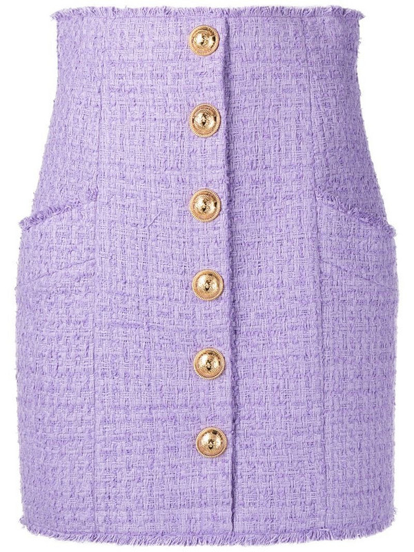 Balmain button-detail tweed skirt in purple