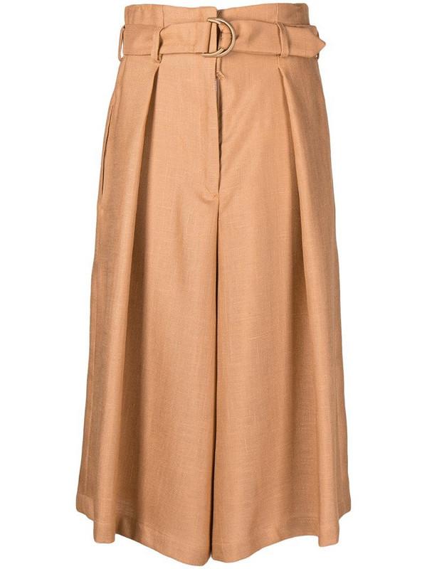 Atu Body Couture pleated cropped culottes in neutrals