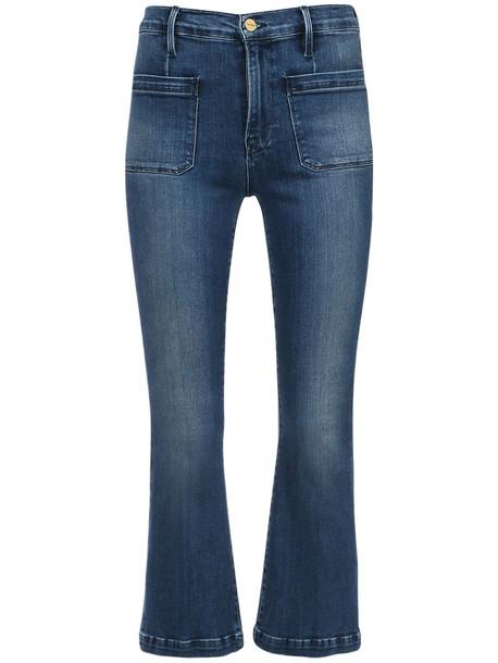 FRAME Le Bardot Cropped Flared Denim Jeans in blue