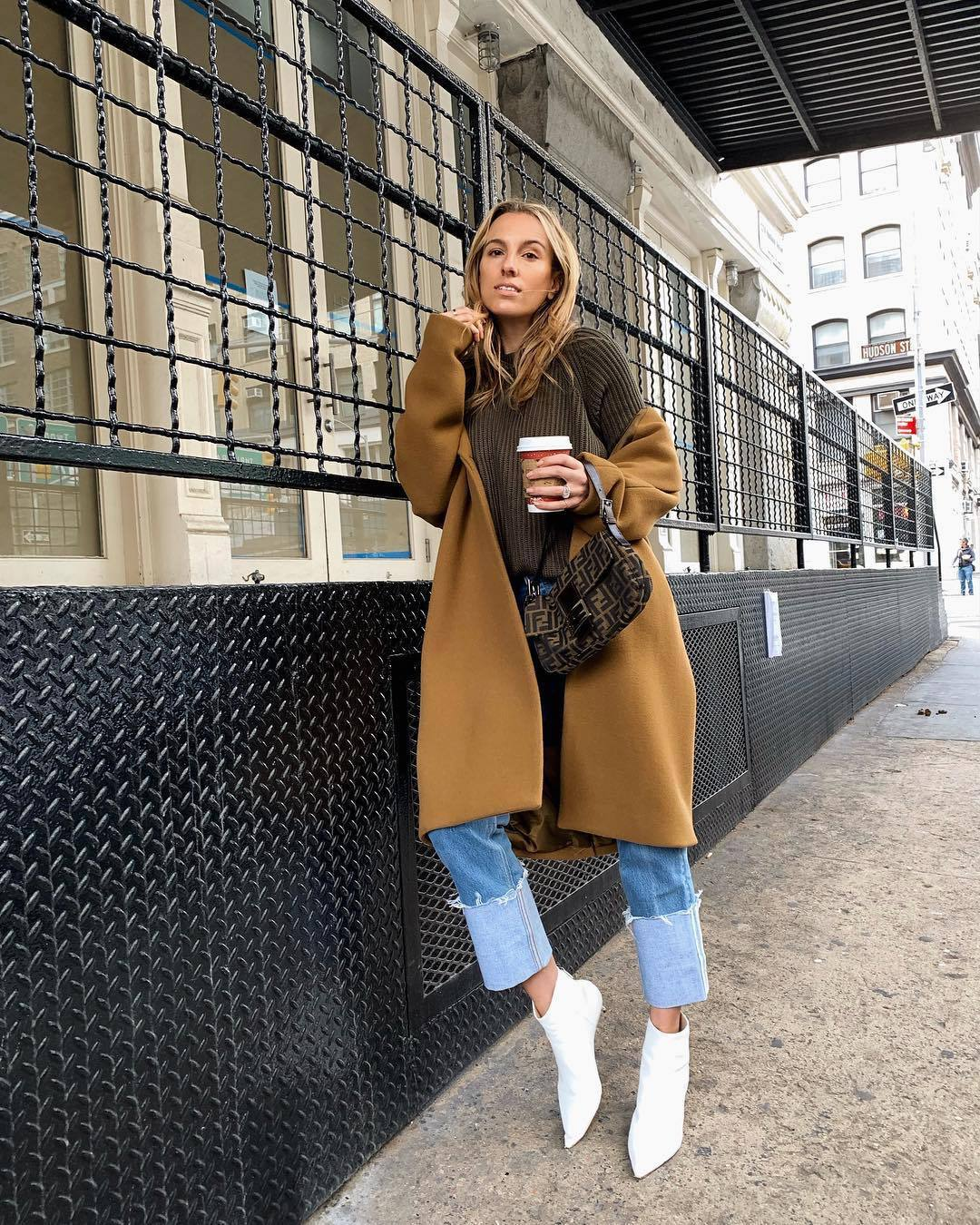 bag shoulder bag brown bag fendi white boots ankle boots straight jeans long coat knitted sweater brown sweater