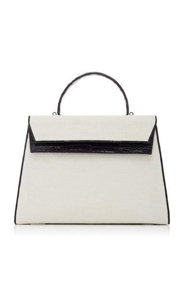 Nancy Gonzalez Two-Tone Crocodile And Linen Top Handle Bag in neutral