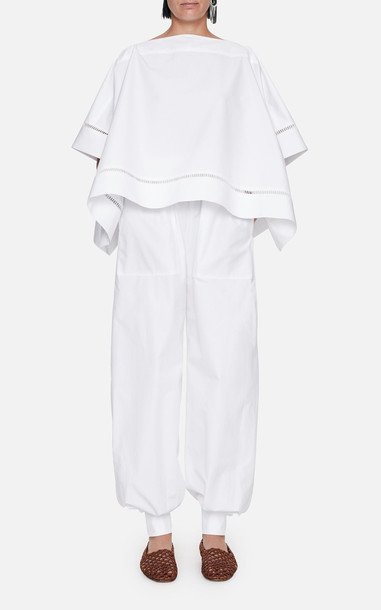 Mark Kenly Domino Tan Theordora Cotton Cape Top in white