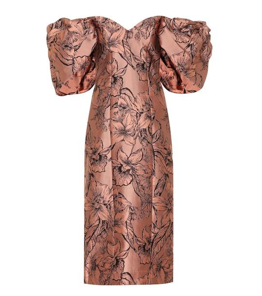 Johanna Ortiz Synchronicity silk-blend midi dress in brown