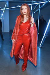 top,pants,bella thorne,celebrity,sequins,flare,red