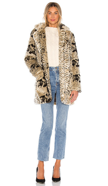 Apparis Sydney Faux Fur Coat in Brown