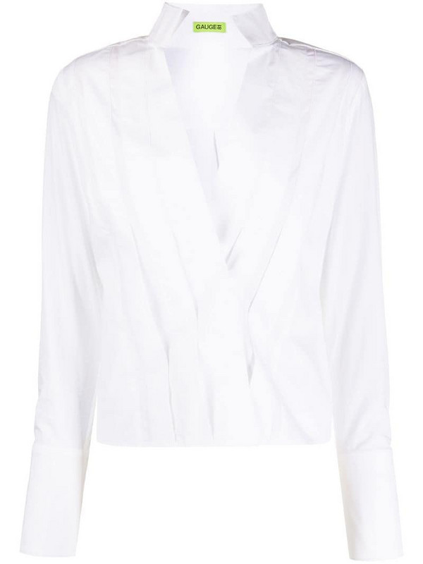 GAUGE81 pleated high-collar shirt in white