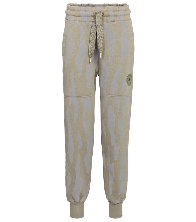 Adidas by Stella McCartney Printed cotton-blend sweatpants in grey