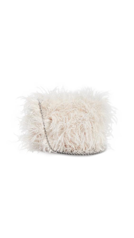 Loeffler Randall Zelda Feather Baguette Bag in silver