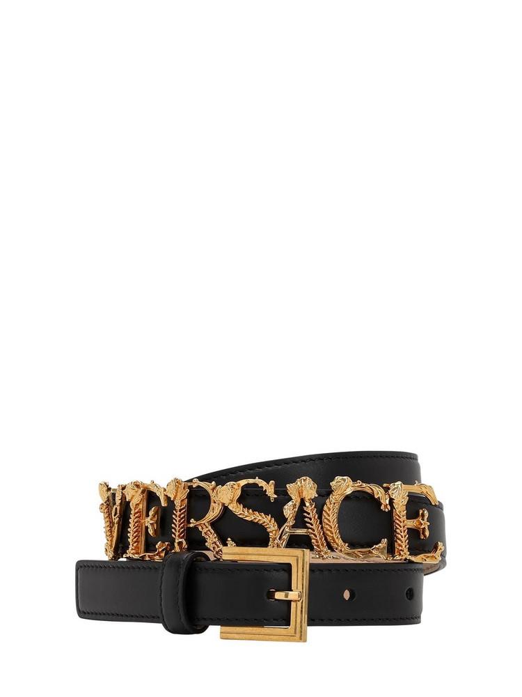 VERSACE 20mm Gold Logo Leather Belt in black