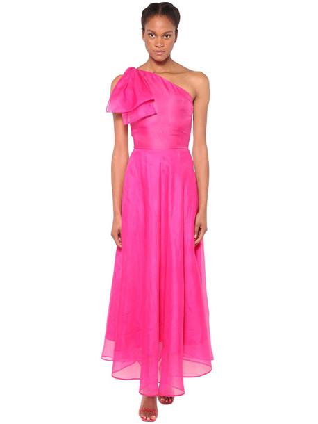 MSGM Lined Organza Maxi Dress in fuchsia