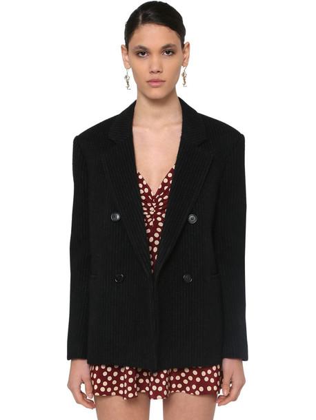 SAINT LAURENT Pinstripe Wool Blend Jacket in black / grey