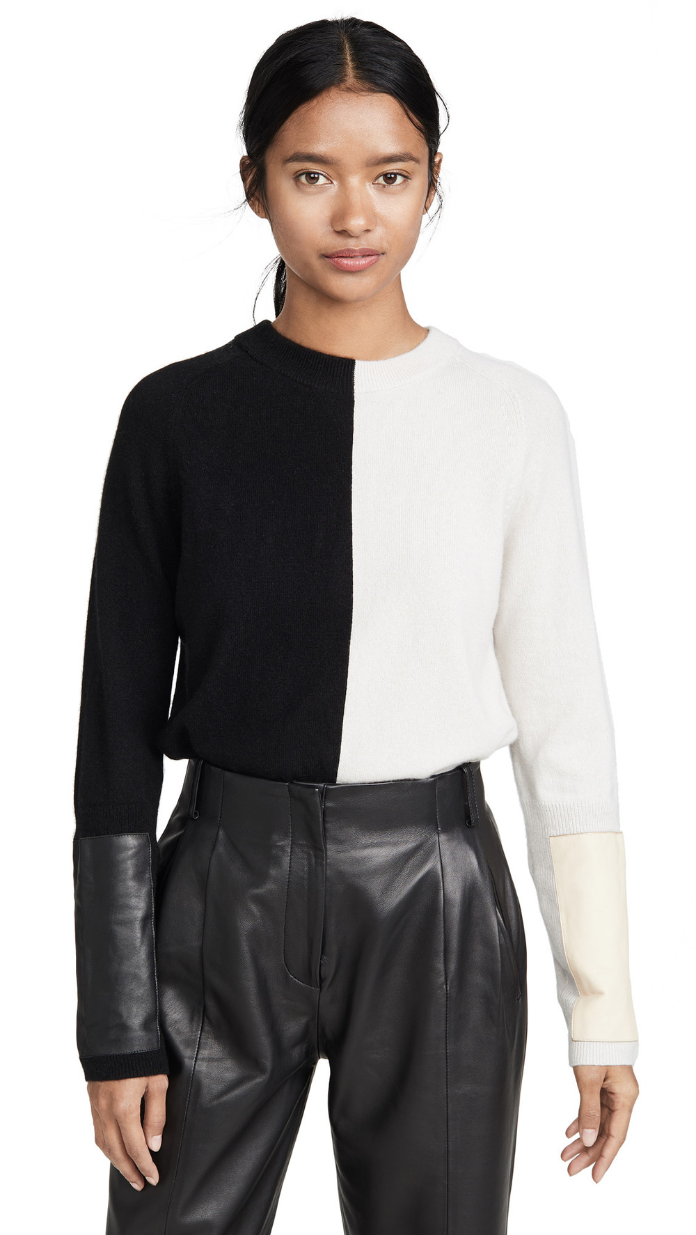 VEDA Gus Cashmere Sweater in black / cream