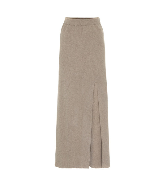 Nanushka Paak cashmere-blend maxi skirt in beige